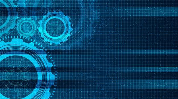 Modern digitaal technische toestellenwiel en haan op technologieachtergrond, vector Premium Vector