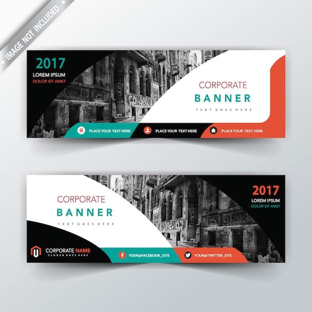 modern dubbelzijdig bannerontwerp Gratis Vector