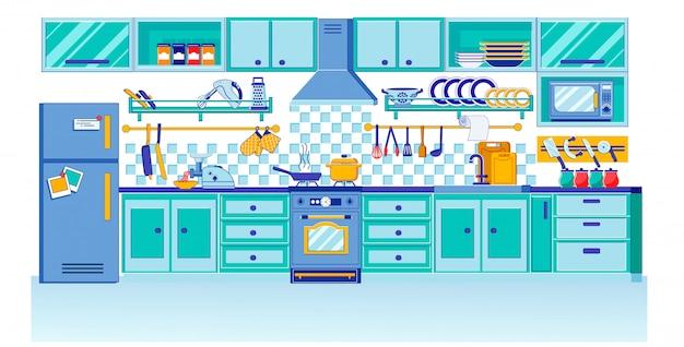 Modern eigentijds keukenontwerp in vlakke stijl Premium Vector