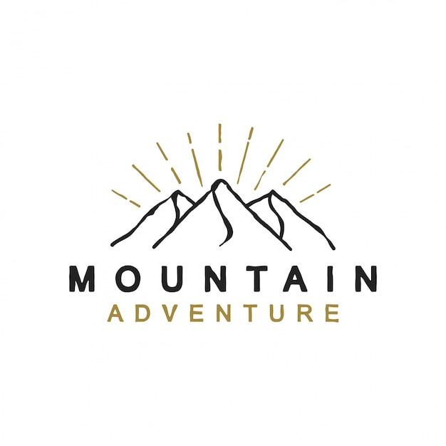 Modern en eenvoudig berglogo ontwerp Premium Vector