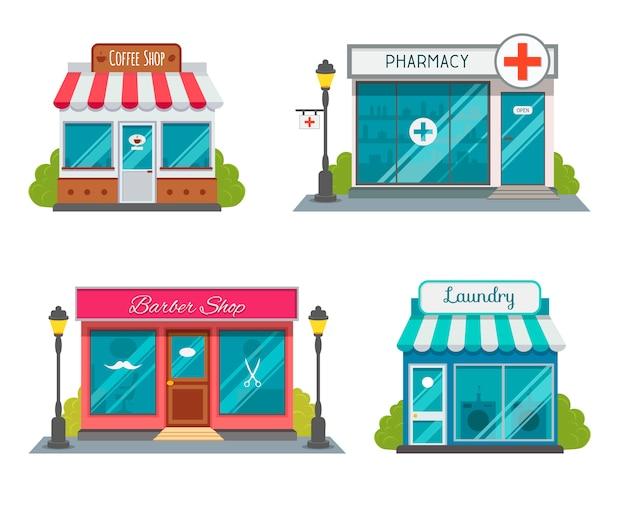 Modern fastfoodrestaurant en winkelgebouwen, winkelgevels, boetieks Premium Vector