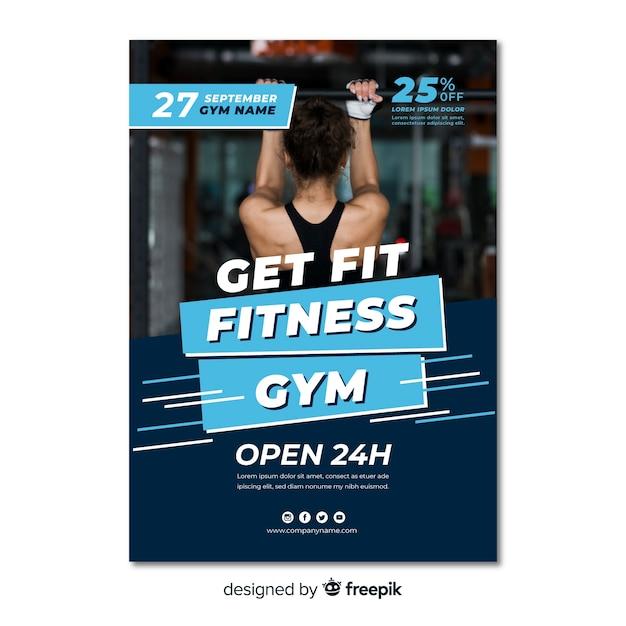 Modern fitness sjabloon folder Gratis Vector