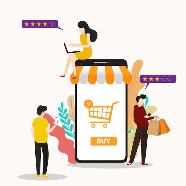 Modern flat mensen en bedrijven voor m-commerce, gemakkelijk te gebruiken en zeer aanpasbaar. Premium Vector