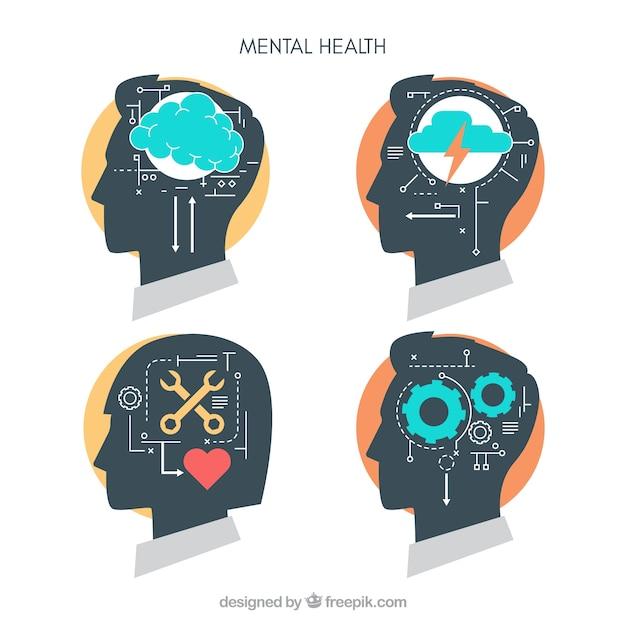 Modern geestelijk gezondheidsconcept met vlak ontwerp Gratis Vector