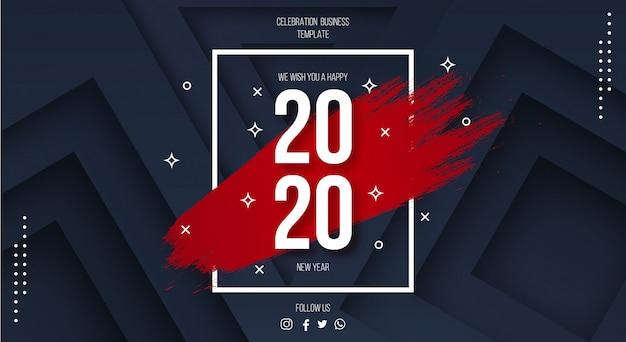 Modern gelukkig nieuwjaar 2020-malplaatje met 3d achtergrond Gratis Vector