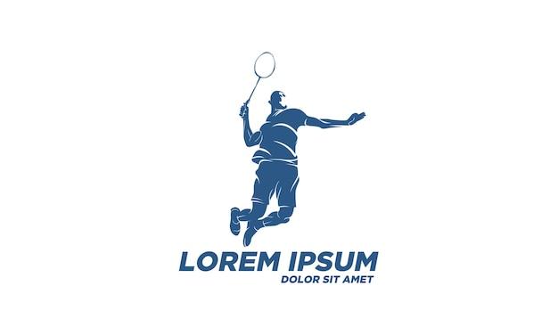 Modern gepassioneerd badmintonspeler in actie-logo Premium Vector