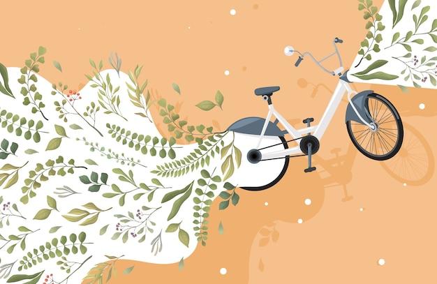 Modern groen en milieuvriendelijk stadsvervoer plat concept. fiets en groene bladeren illustratie. Premium Vector