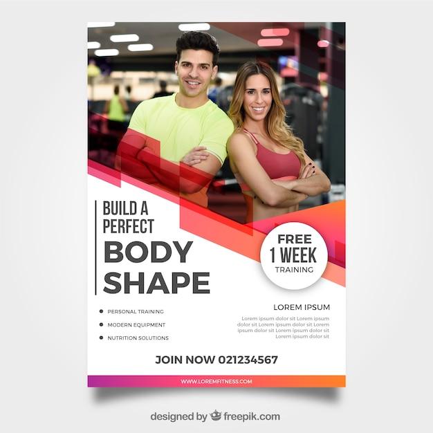 Modern gym folder sjabloon met afbeelding Gratis Vector
