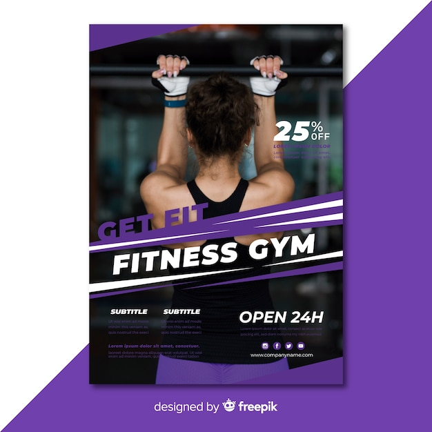 Modern gym folder sjabloon met foto Gratis Vector
