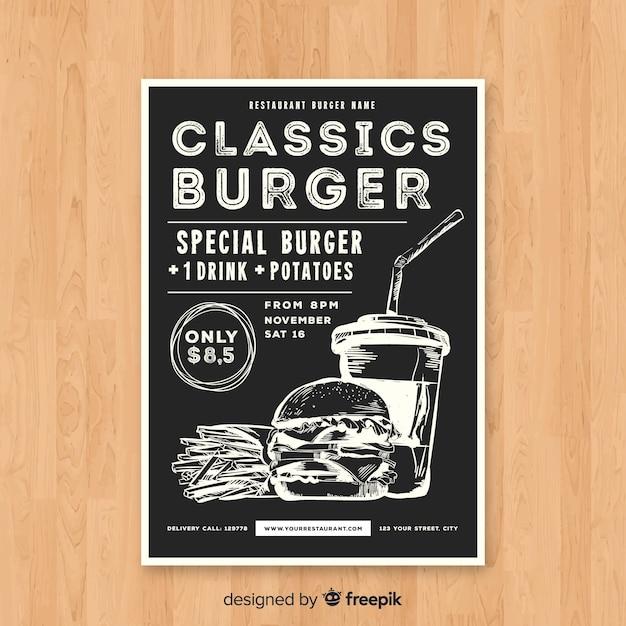 Modern hamburger restaurant flyer sjabloon Gratis Vector