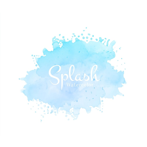 Modern hand getekend blauw aquarel splash ontwerp Gratis Vector