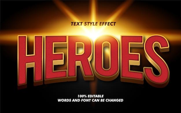 Modern heroes 3d vetgedrukte tekststijleffect Premium Vector