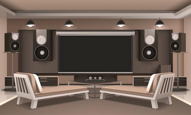 Modern home theatre-interieur Gratis Vector