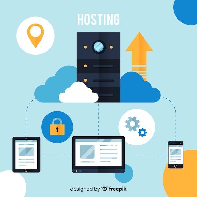 Modern hostingconcept met plat ontwerp Gratis Vector