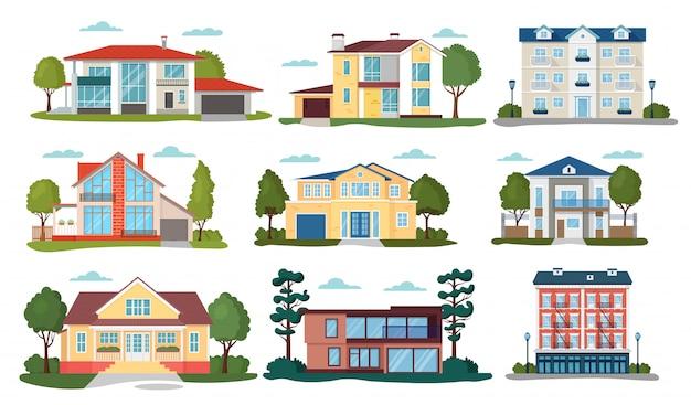 Modern huis illustraties, cartoon flat home appartement, gevel buitenkant van woningbouw set pictogrammen geïsoleerd op wit Premium Vector