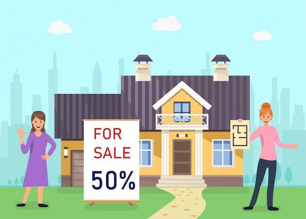 Modern huis te koop, korting voor appartement. Premium Vector