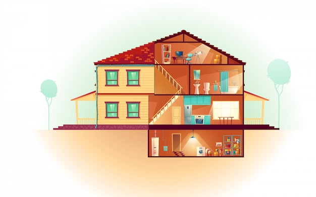 Modern huis, twee-verdieping cottage buitenkant en doorsnede interieurs cartoon Gratis Vector