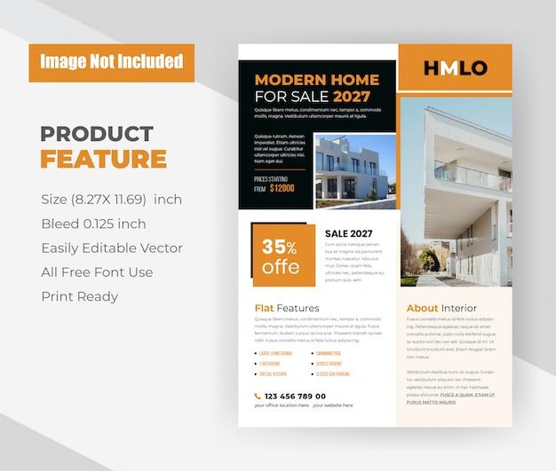 Modern huis voor verkoop concept flyer-sjabloon Gratis Vector