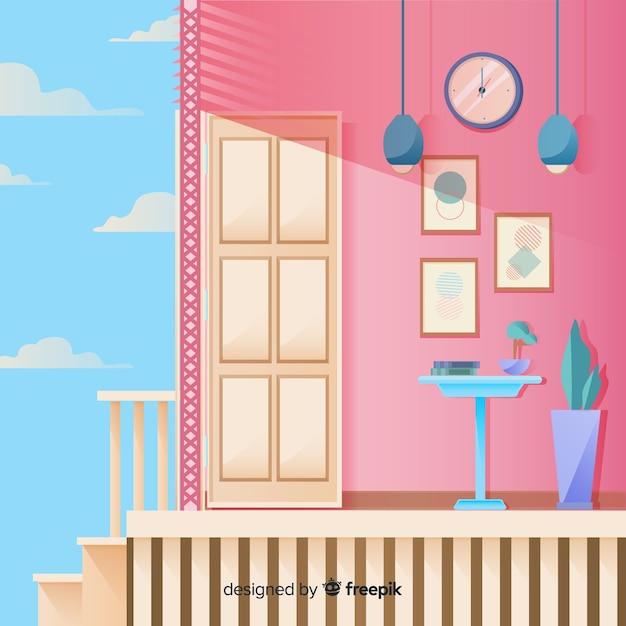 Modern huisbinnenland met vlak ontwerp Gratis Vector