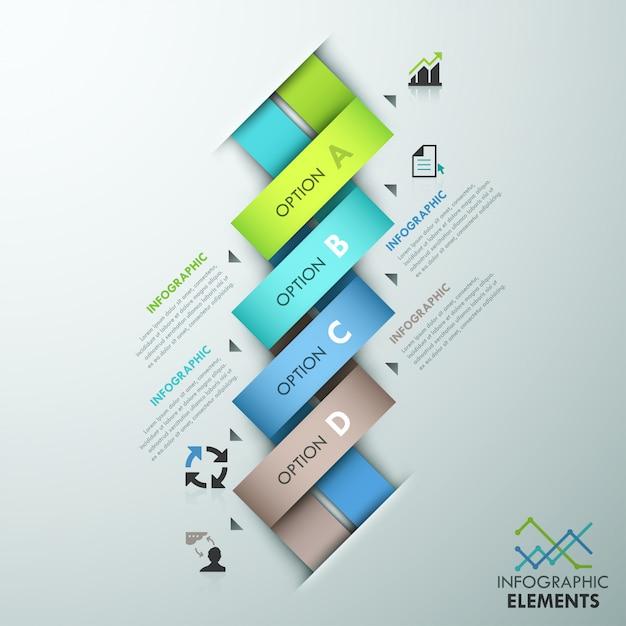 Modern infographic optiemalplaatje met kleurrijke linten Premium Vector