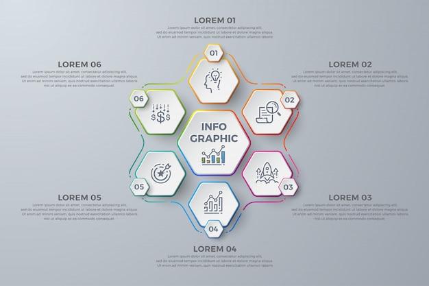 Modern infographic-sjabloonontwerp met 6 proceskeuzen of stappen Premium Vector