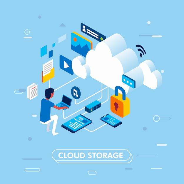 Modern isometrisch ontwerp van het concept van de wolkenopslag, met de mens die aan laptop werken die tot cloudopslag, bestemmingspagina of infographic vectorillustratie toegang hebben Premium Vector