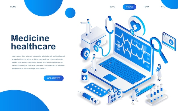 Modern isometrisch ontwerpconcept online medicine Premium Vector