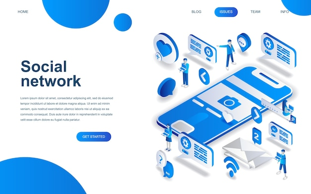 Modern isometrisch ontwerpconcept sociaal netwerk Premium Vector