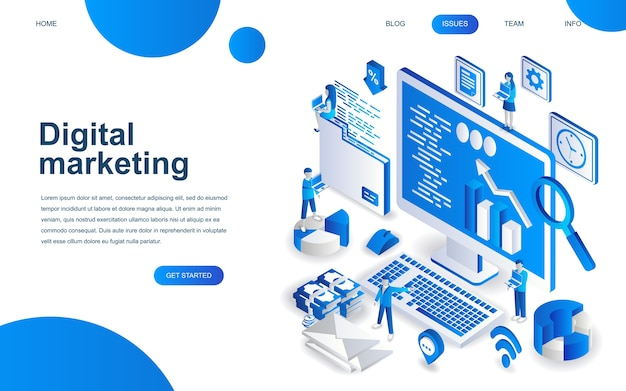 Modern isometrisch ontwerpconcept van digitale marketing Premium Vector