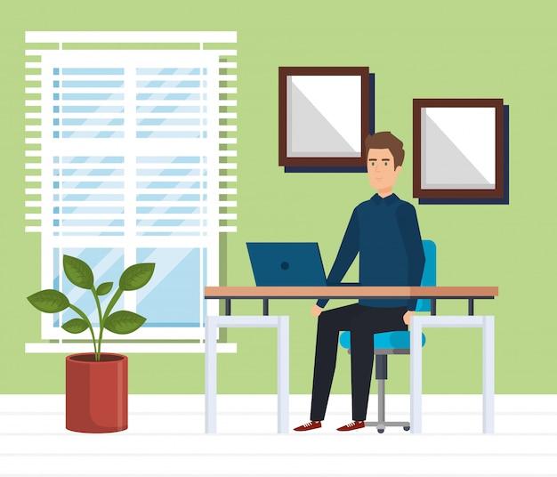 Modern kantoor met zakenman Gratis Vector