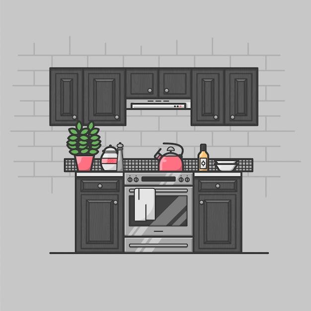 Modern keuken interieur Gratis Vector