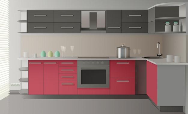Modern keukeninterieur Gratis Vector