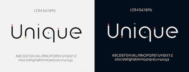 Modern lettertype ontwerp, trendy alfabetletters en cijfers Premium Vector