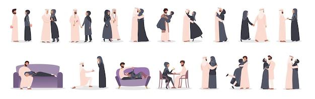 Modern moslimpaar op verschillende activiteitenset. arabische vrouw en man zijn verliefd. liefhebbers die samen tijd doorbrengen. Premium Vector