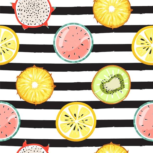 Modern naadloos tropisch patroon met fruit. mode gestreepte achtergrond. Premium Vector