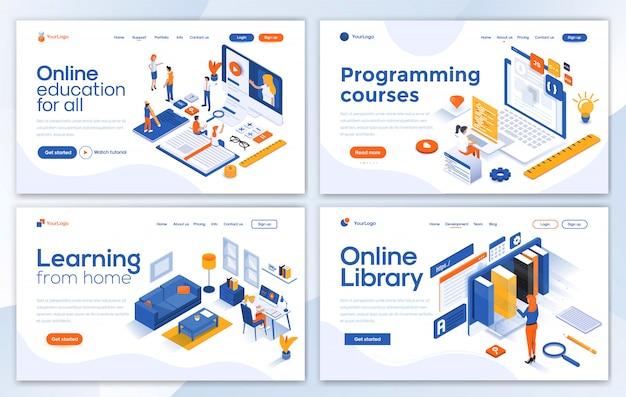 Modern of landing page template - education set Premium Vector