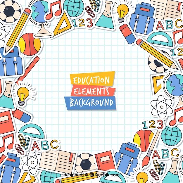 Modern onderwijs concept achtergrond Gratis Vector