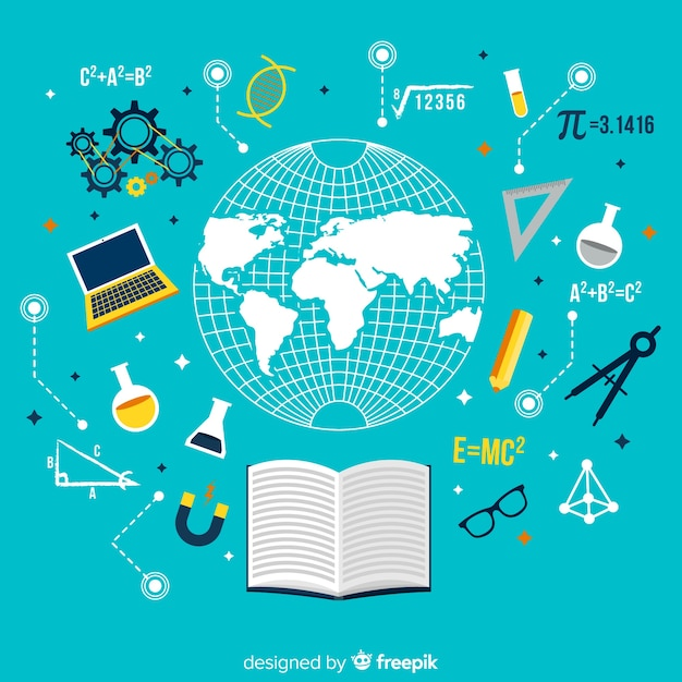 Modern onderwijsconcept met vlak ontwerp Gratis Vector