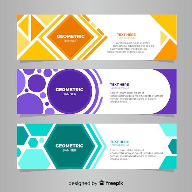 Modern pak van abstracte banners met platte ontwerp Gratis Vector