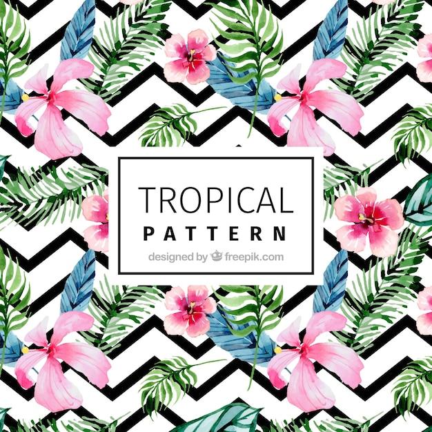 Modern patroon met tropische aquarelbloemen Gratis Vector