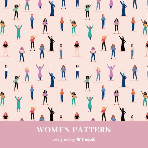 Modern patroon van internationale groep vrouwen Gratis Vector