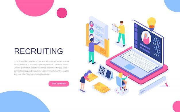 Modern plat ontwerp isometrisch concept van business recruiting Premium Vector
