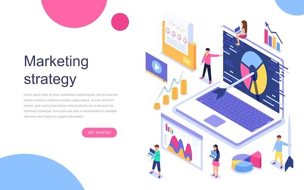 Modern plat ontwerp isometrisch concept van marketingstrategie Premium Vector