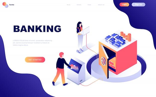 Modern plat ontwerp isometrisch concept van online bankieren Premium Vector