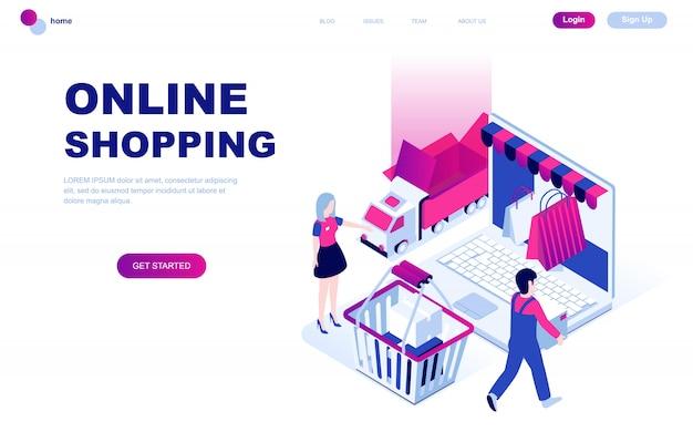 Modern plat ontwerp isometrisch concept van online winkelen Premium Vector