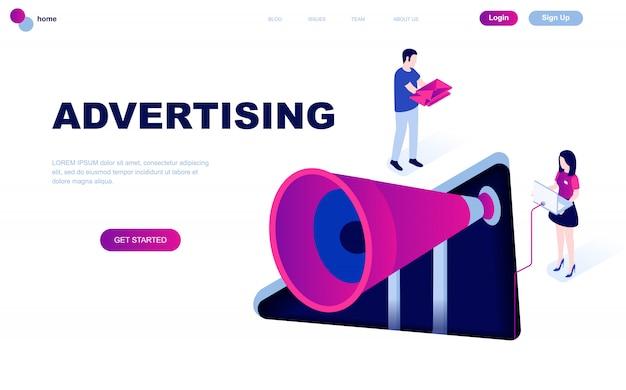 Modern plat ontwerp isometrisch concept van reclame Premium Vector