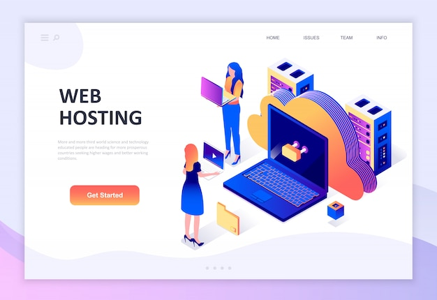 Modern plat ontwerp isometrisch concept van web hosting Premium Vector