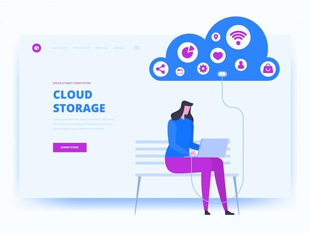 Modern plat ontwerpconcept van cloudtechnologie Premium Vector