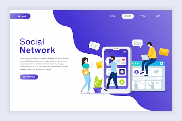 Modern plat ontwerpconcept van sociaal netwerk voor website Premium Vector