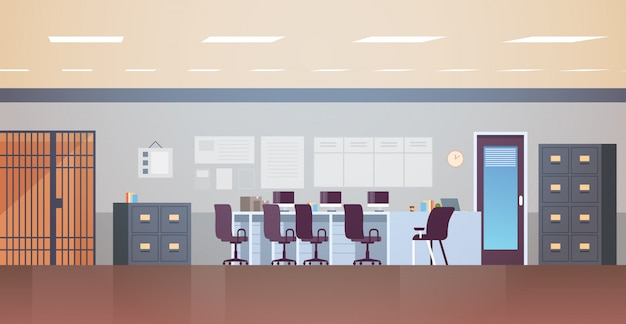 Modern politiebureau of afdeling met meubilair leeg geen mensen kantoorruimte interieur plat horizontaal Premium Vector